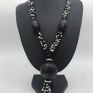 Jewelry - Boho wood and seed bead necklace